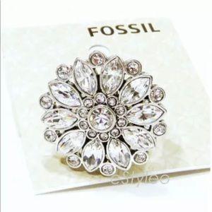 Fossil Brand Statement Ring Flower Floral Glitz 7